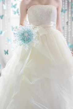 Wedding Flowers - The Crystal Snowflake Bridal Bouquet with Aqua Beads by Ky Kampfeld - Bridal Bouquets by Ky