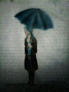 Chica bajo la lluvia