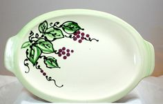 Signed Art Pottery Stoneware Platter With Grape Leaves Handcrafted