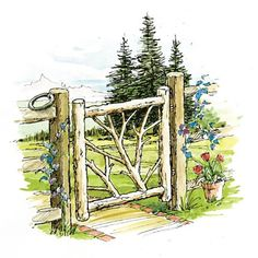 """How to Build a Rustic Gate   """"There's no list to take to the lumberyard for this project, although some nurseries or farm supply stores sell rustic poles that can be used for the posts and rails. A walk through the woods is the best way to find the raw materials, especially the more decorative inside branches that give the gate its unique personality."""""""