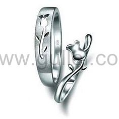 Sterling Silver Matching Flower Couples Wedding Rings Set for 2