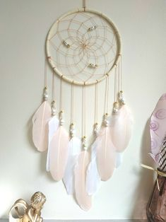 Excited to share the latest addition to my shop: Boho Feathers Dreamcatcher Wall Hanging Dream Catcher Blush Pink Girls Room Decor room girl bedrooms room girl creative room girl diy room girl ideas room girl teenagers room girl wall Boho Bedroom Decor, Boho Room, Boho Decor, Bedroom Wall, Dream Bedroom, Tribal Decor, Cozy Bedroom, Bedroom Furniture, Master Bedroom