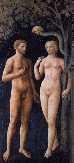 MASOLINO da Panicale The Temptation 1426-27 Fresco, 208 x 88 cm Cappella Brancacci, Santa Maria del Carmine, Florence