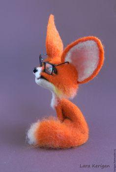 Купить Лисенок в очках - рыжий, лис, лисенок, лисица, очки, авторская игрушка, валяная игрушка