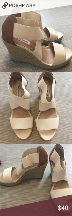 Steve Madden 'Bandage' Wedges Steve Madden 'Bandage' wedges in cream and crown leather. Size 8 1/2. Very good condition. Super comfy. Steve Madden Shoes Wedges