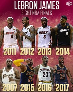 Eight NBA finals for LeBron James. First NBA player to lead two teams to 4 Finals. Miami Heat Basketball, Basketball Memes, Basketball Is Life, Basketball Pictures, Basketball Legends, Basketball Uniforms, Basketball Players, Basketball Scoreboard, Basketball Stuff