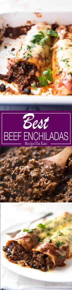 Beef Enchiladas I doubled this recipe and my family of 5 devoured it! Massive hit, will make again and again. That beef filling – best I've ever had. Best Beef Enchilada Recipe, Homemade Enchilada Sauce, Homemade Enchiladas, Beef Enchiladas, Enchilada Recipes, Homemade Sauce, Homemade Taco Seasoning, Mexican Dishes, Mexican Food Recipes