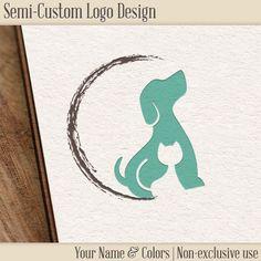 Semi-Custom Logo - Dog & Cat Logo by CrossTheLime on Etsy… Dog Logo Design, Cat Design, Pet Shop, Circle Logos, Cat Logo, Animal Logo, Cat Drawing, Cat Tattoo, Logo Design Inspiration