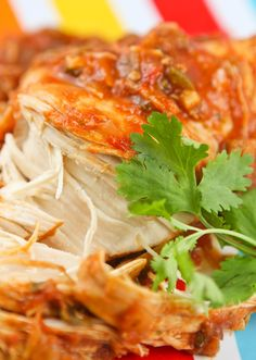 Cilantro Lime Chicken in a slow cooker. Gotta try this! It looks delicious! I'm thinkin chicken tacos???
