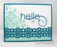 Supply list: Stamps:  My Friend Ink:  Pool Party, Island Indigo Paper:   Pool Party, Island Indigo, Whisper White cardstock  Accessories:  Lace Ribbon Border Punch, Rhinestone Jewels, 2-way Glue Pen   For more inspiration:  http://dostamping.typepad.com/dostamping_with_dawn/2011/07/stampin-up-my-friend-convention-lace-ribbon-border-punch.html