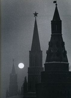 The Kremlin and Spassky Tower, Moscow, under a full moon, 1950s ~ by Carl Mydans, photojournalist