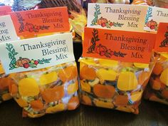 THANKSGIVING BLESSING MIX, including printable for the package topper. Backside of topper lists ingredients in the mix and what they represent, e.g., Bugles for cornucopia, Pretzels for arms in prayer, candy corn for first Thanksgiving, nuts/seeds for planting, dried fruit for harvest, M&Ms for memories, Hershey's Kiss for love of family & friends. Other ideas: candy pumpkins, marshmallows for snow that Pilgrims survived.