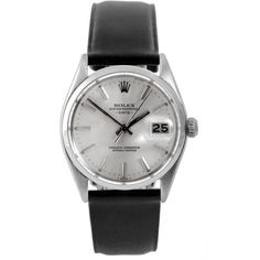 Refurbished Pre-Owned Rolex Men's 1500 Date Watch Dial and Black... ($2,880) ❤ liked on Polyvore featuring men's fashion, men's jewelry, men's watches, silver, mens leather strap watches, mens watches jewelry, pre owned mens rolex watches, mens leather band watches and mens diamond bezel watches