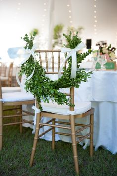 Chair garland: http://www.stylemepretty.com/georgia-weddings/albany-georgia/2015/03/04/vintage-chic-summer-wedding-at-blue-springs-plantation/ | Photography: Kate Belle - http://kate-belle.com/
