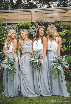 3d2728693c4 2019 Newest Cheap Long Chiffon Skirt Bridesmaid Dresses Floor Length Party  Skirt Maid Of Honor Dresses