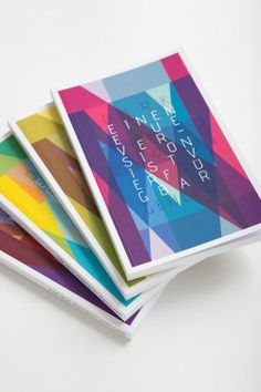I like the overlapping and the layering of different opacities and coloured letters to create an image. Each booklet has  a different colour scheme but they all use the same technique so work together nicely as a series. Bright colours used represent happiness, no dull colours