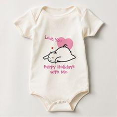 Cute Shy Devil Love You Happy Holidays Baby Bodysuit - holidays diy custom design cyo holiday family