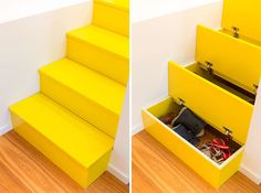 These Bright Yellow Stairs Include Hidden Spaces For Storage | CONTEMPORIST