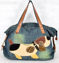 Cute bag with leather handles and dog applique Mehr