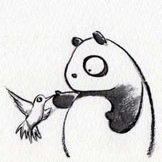 【一日一大熊猫】 2014.12.3 ハミングバードはハチドリの事だけど ギブソンのギターにはピックガードに このハチドリが描かれている物があるよ。 いいね。