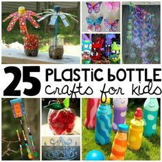 Why throw away those old plastic bottles when you can recycle them into fun crafts? It's time to dig into the recyclable bin and gather all your plastic bottles. These 25 plastic bottle crafts for kids are fun, creative, beautiful, bizarre, and down right awesome. Turn your junk into afternoon fun that your whole family will love. Happy Crafting! 25 Plastic Bottle Crafts for Kids An apple a day keeps the...recycling bin clear. Plus, you child can make them as gifts for their teacher! Via…