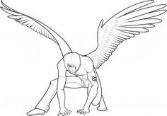 how to draw anime wings, draw an anime angel step 17