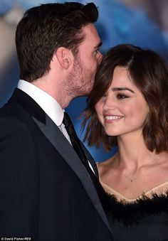 Richard Madden and his girlfriend, Jenna Coleman at the London premiere of Cinderella. #cutecouple