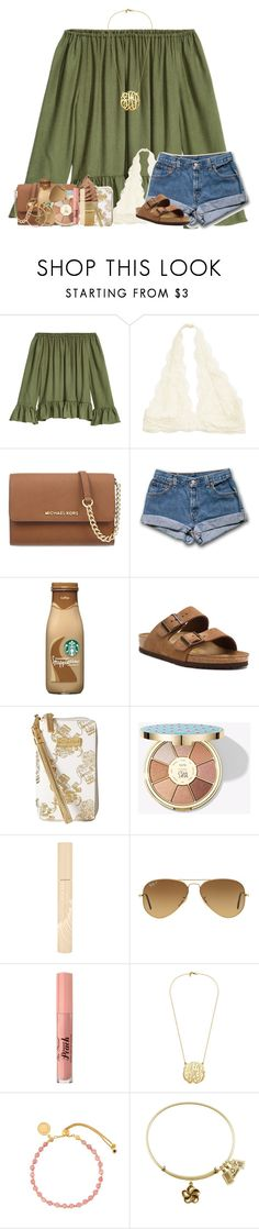 """Watching The Voice ❤️✌"" by abigailcdunn ❤ liked on Polyvore featuring MICHAEL Michael Kors, Birkenstock, Lilly Pulitzer, tarte, Stila, Ray-Ban and Astley Clarke"