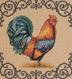 Rooster Cross Stitch love this border Rooster Cross Stitch, Chicken Cross Stitch, Cross Stitch Love, Cross Stitch Needles, Cross Stitch Animals, Counted Cross Stitch Patterns, Cross Stitch Designs, Cross Stitch Embroidery, Cross Stitching