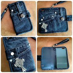 Jean Crafts, Denim Crafts, Diy Jeans, Diy Wallet Phone Case, Mochila Jeans, Denim Bag Patterns, Pochette Portable, Jean Purses, Diy Bags Purses