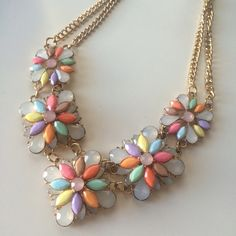 Floral bauble necklace Floral bauble necklace and its techni color statement. Perfect for a lawn party or the spring and summer season! Jewelry Necklaces