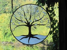 Winter Stained Glass Tree of Life by RenaissanceGlass on Etsy, $475.00