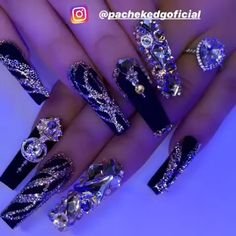 Nail Designs are continually changing, but one thing that doesn't change is the effect a good manicure can have on Bling Acrylic Nails, Best Acrylic Nails, Silver Nails, Rhinestone Nails, Bling Nails, Stiletto Nails, Swag Nails, Acrylic Nail Designs, Nail Art Designs