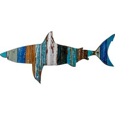 <p> This Great White Shark wooden wall plaque is hand made in the USA.This anchor makes the perfect nautical decorative accent. This shark is wonderfully rustic, with all of the natural wood grain and imperfections adding to the patina. Up -cycled from re purposed barn wood in assorted old barn colors. This is a totally unique item no two the same. This w...