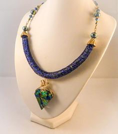 Dichroic Shield with Viking Knit Necklace and Earrings