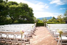 Ceremony at Landmarks Art & Garden.  Flowers by Mill Valley Flowers.