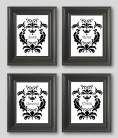 Black And White Damask Design Set Of Four 11x14 Art Prints Soak Relax Unwind Enjoy Bathroom Decor Matches Damask Bathroom Curtains Decor