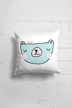 Scandinavian nursery bear pillow by OttoandPixelsDesign on Etsy
