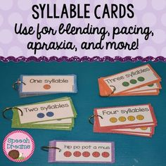 Syllable Cards {multi-syllabic word cards for blending, pacing, apraxia and more.}