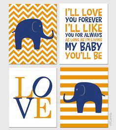 Wonder if she could do purple for Olivia's room?! I love this book quote too.  Navy Blue Orange Nursery Chevron Elephant PERSONALIZE by ofCarola, $50.00
