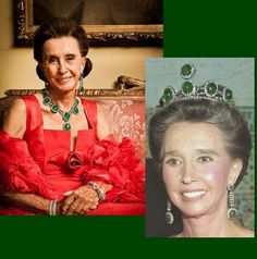 Aline, Countess of Romanomes. Wearing these emeralds as a necklace and a tiara
