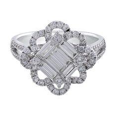 Square Center Floral Loop Bezel Diamond Ring