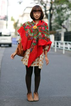 large red vintage floral shawl and yellow flower pin - tokyo street style