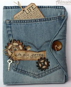 Upcycled jeans book cover. Lots of photos, no tutorial.