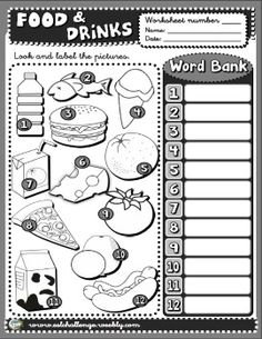 Food and drinks worksheet