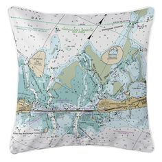 FL: Indian Key, Lignumvitae Key, FL Nautical Chart Pillow