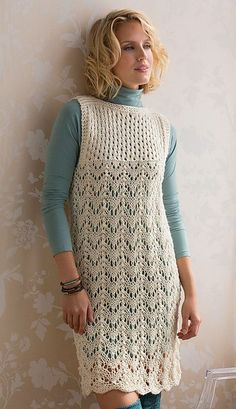 Free knitting pattern for Layered Lace Dress - Lorna Misner's lace patterns for her design are both charted and written out. Sizes Small to XX-Large
