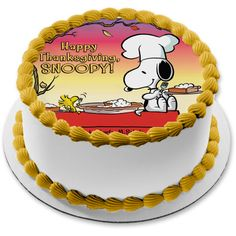 The Peanuts Happy Thanksgiving Snoopy Woodstock Pumpkin Pie Edible Cake Topper Image ABPID52718 - 1/4 sheet - 8x10.5\