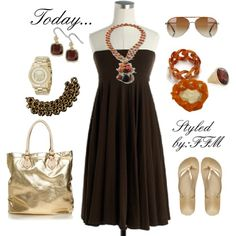 brown sundress with coral and gold accessories