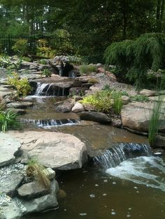 The Best Covered Back Patio Ideas For Your Home – Pool Landscape Ideas Backyard Stream, Backyard Water Feature, Ponds Backyard, Pond Design, Landscape Design, Small Water Gardens, Farm Pond, Building A Pond, Pond Liner